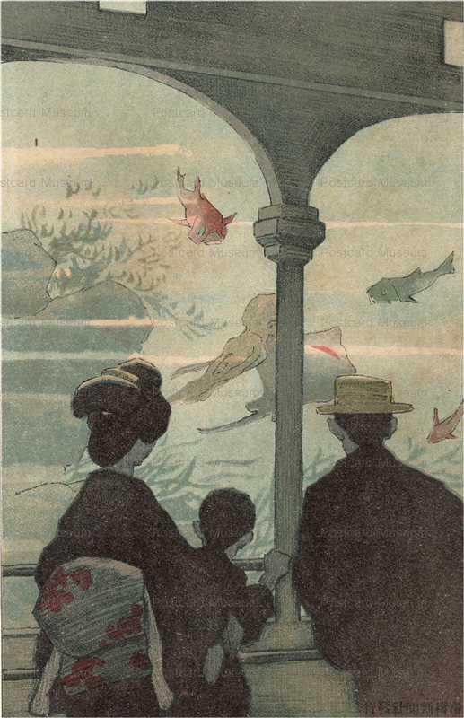 14-10  趣味ある水族館 絵葉書世界第14集 明治41年1908