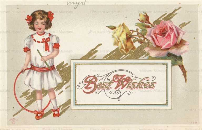 C160-Girl with Hoop Toy Roses Best Wishes