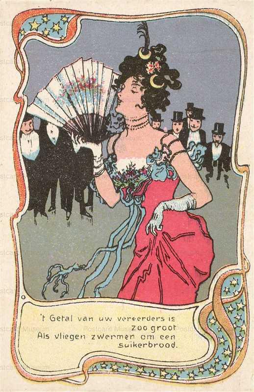 abc190-Lady with Fan & Gentlemen Admirers