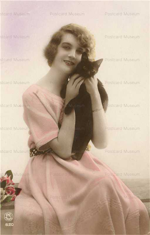 ac006-Black Cat with Flapper Fashion Lady