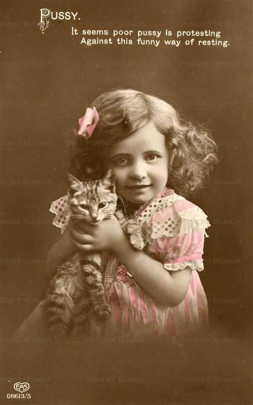 ac007-Young Girl Choking Kitty Cat