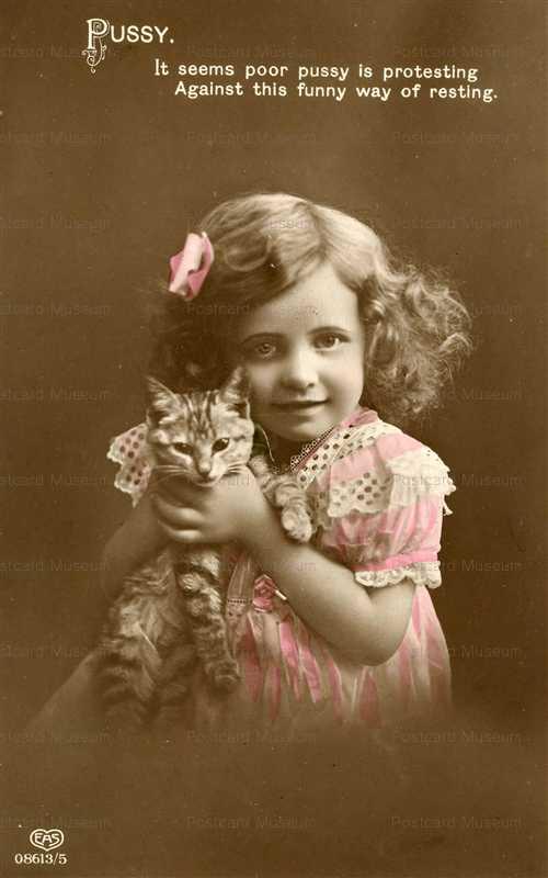 ac007-Young Girl Choking Kitty Cat
