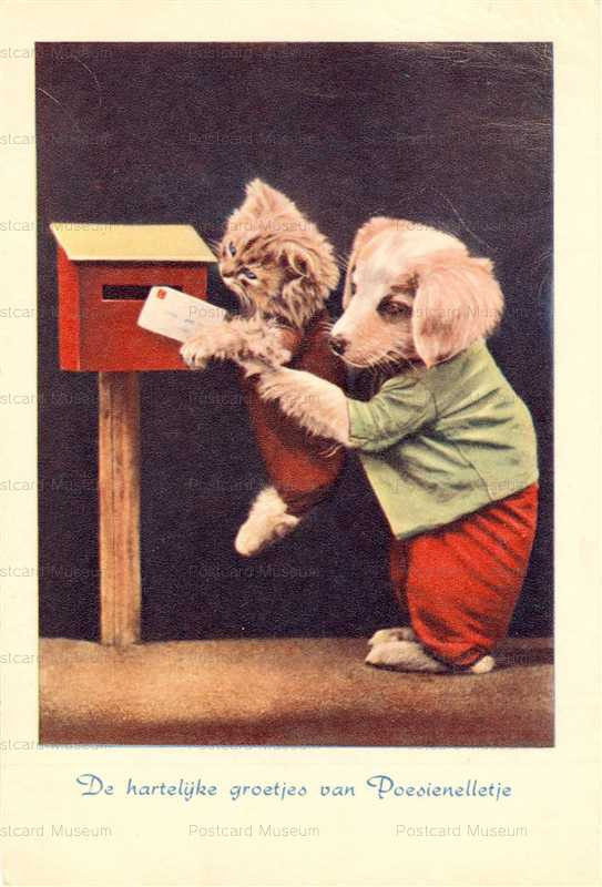ac009-Dog hold Cat Mail a Letter