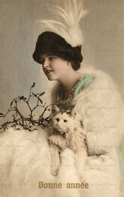 ac012-High Fation Hatted Fur Lady with Cat