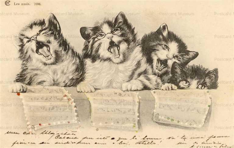 acb013-Singing Song Chorus Cat Music Les Amis