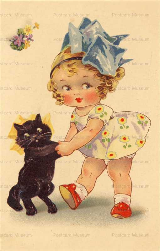 acc010-Girl with Black Cat Dacing