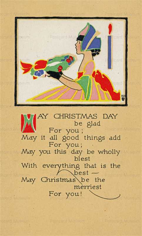 ad050-Volland Christmas Girl Carries Wreath