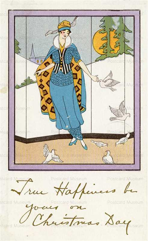 ad060-Christmas Art Deco Woman with Doves