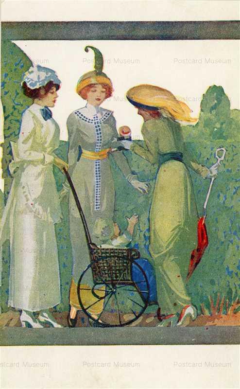 ad240-Women Gossip Baby in Stroller Beautiful Hydegrade