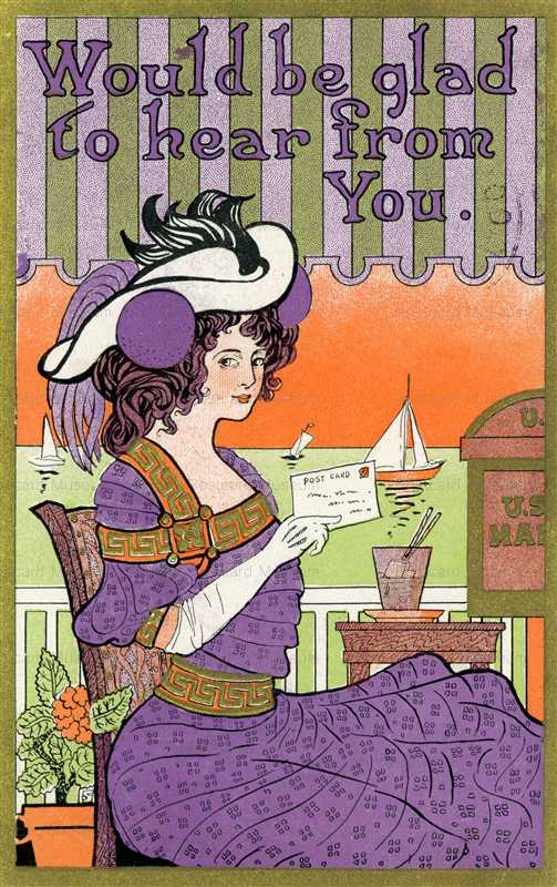 ad250-Pretty Woman Holding Postcard Big Hat