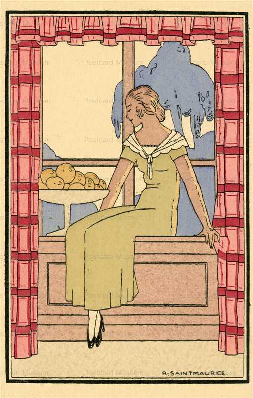 ad270-R Saintmaurice Lady by Window Fruits