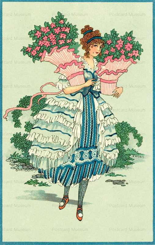 ad320-Beautiful Woman Holding Flower Basket