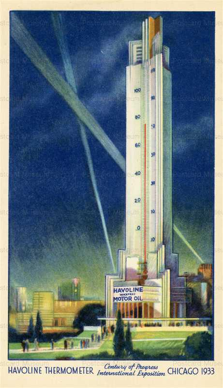 ad900-Havoline Motor Oil Thermometer 1933 Worlds Fair