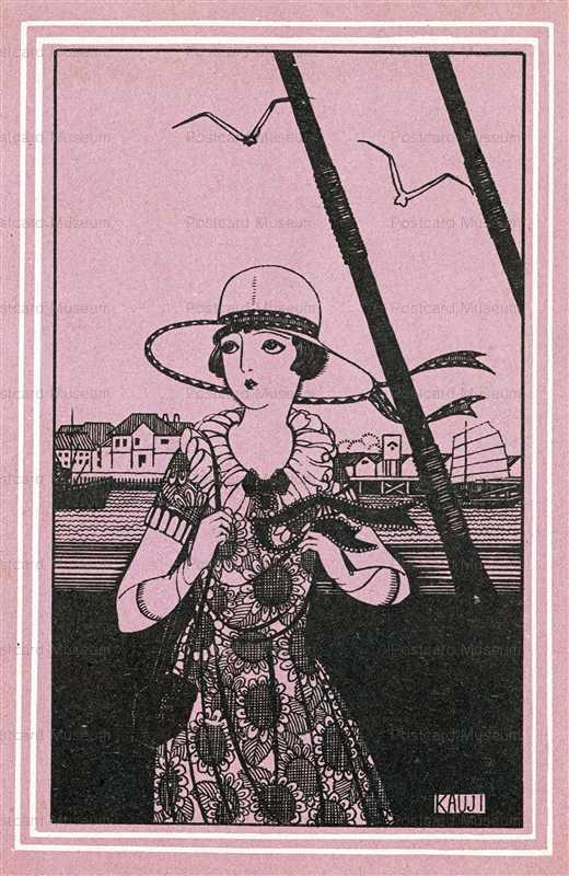 af835-蕗谷虹児 船上の女性