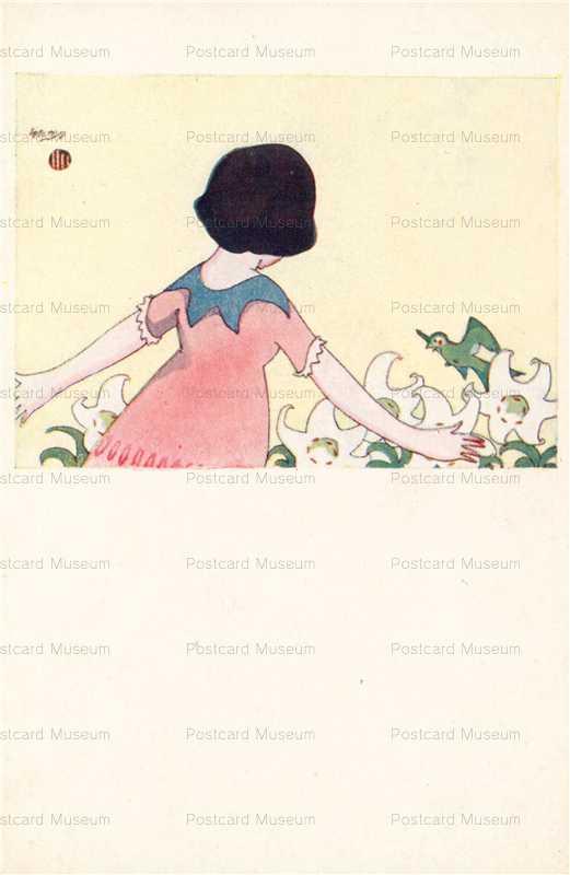 ah001-橋爪ゆたか 少女 鳥と百合