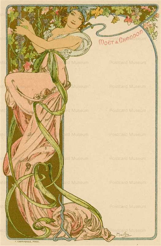 am015-Moet & Chandon menu 1900 Alphons Mucha