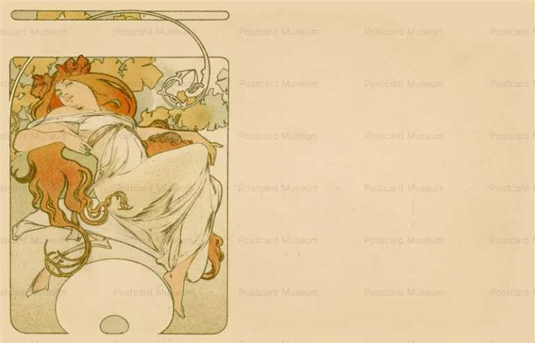 am045-Design for Postcard 1900 Alphons Mucha