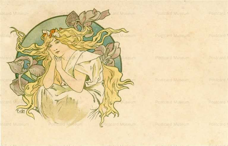 am046-Design for Postcard 1900 Alphons Mucha