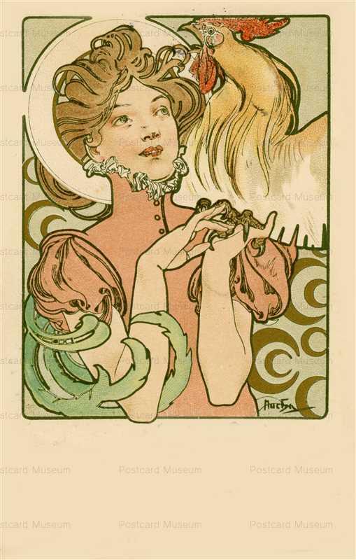 am071-Cocorico Cover Design 1899 Alphons Mucha