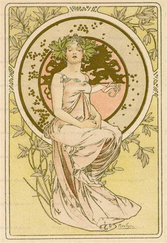 am074-Menu for Banquett 1898 Alphons Mucha