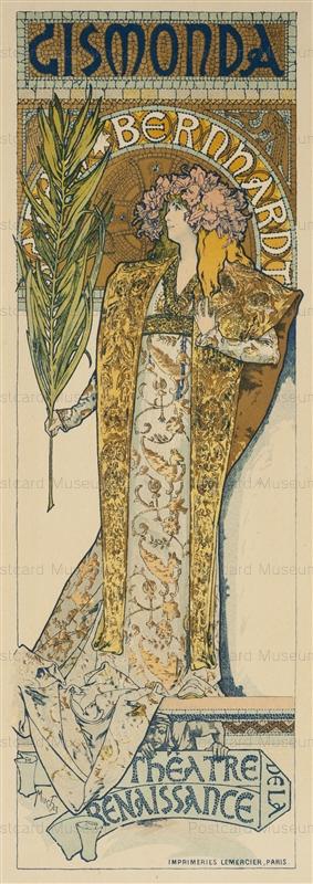 amg005-Gismonda Poster Litho Maotre de Affice Pl.27 1896 Alphons Mucha