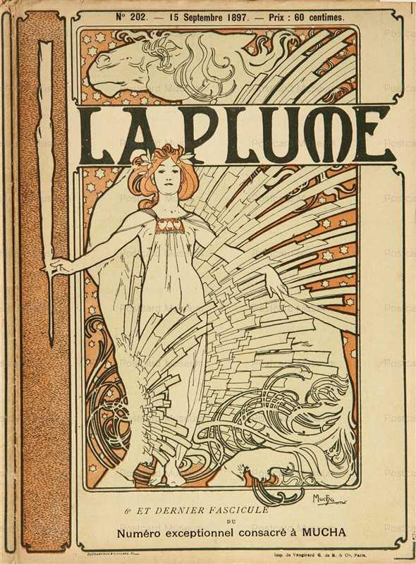 amg029-La Plume 1897 Magazine Cover Litho Alphons Mucha