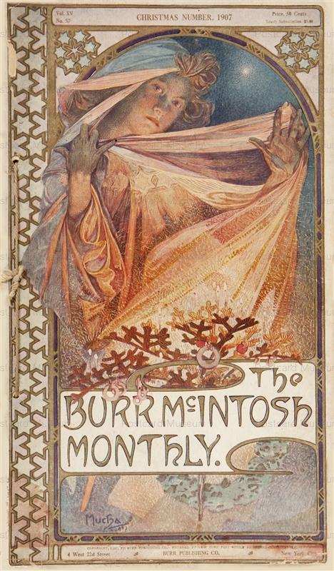 amg034-The Burr Mc.Intosh Monthly 1907 Magazine Cover Litho Alphons Mucha