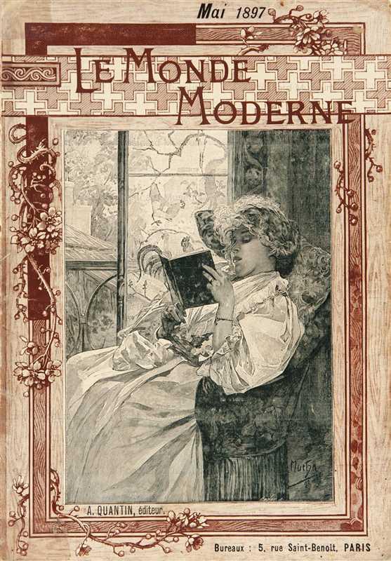 amg039-Le Monde Moderne 1899 Magazine Cover Litho Alphons Mucha