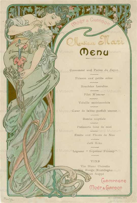 amg044-Menu Moet et Chandon 1898 Alphons Mucha
