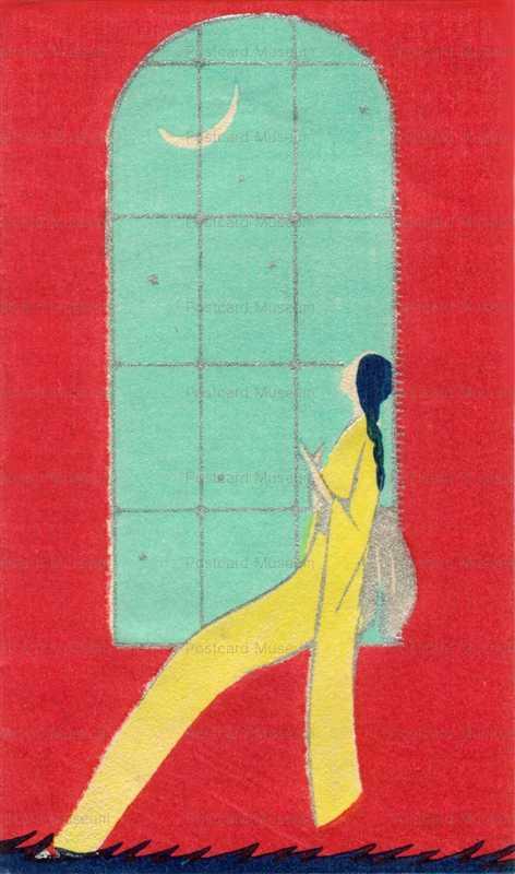 ap006-月を眺める窓辺の女性