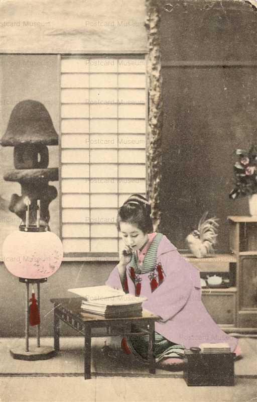 bb022-読書する美人 行灯