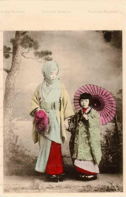 bv013-ベール美人御高祖頭巾と傘さす子供