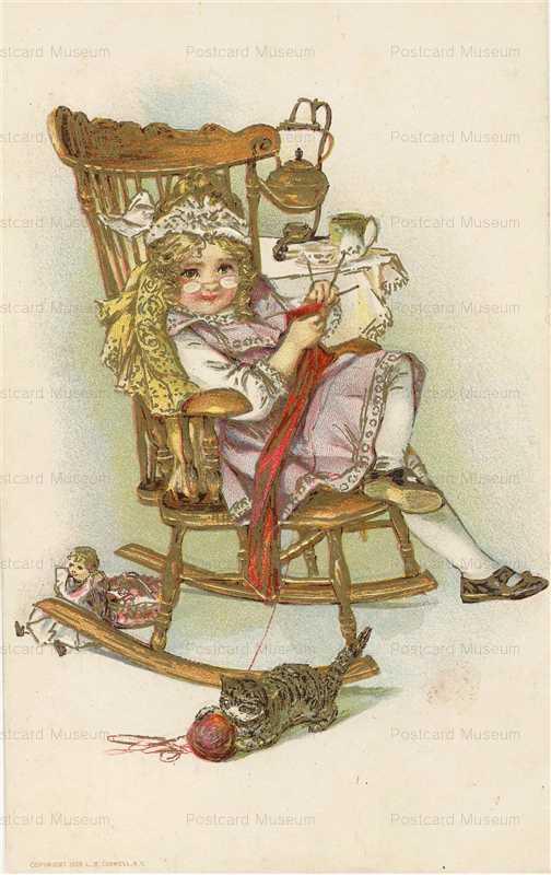 c034-Little Girl as Grandmother Knitting
