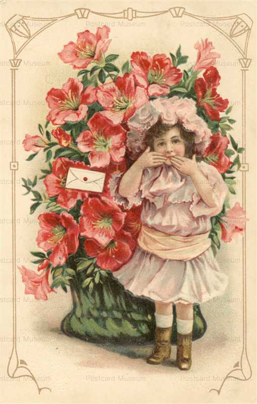 c041-Kiss Girl with Flowers Greeting Embossed