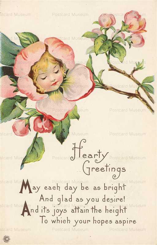 c124-Greeting Fantasy Flower Girl Stecher Lith Co