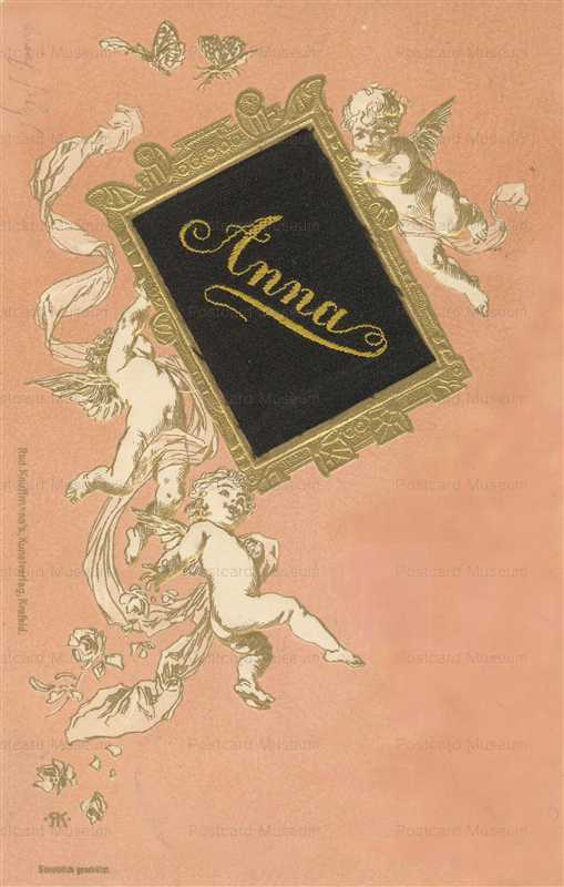 c150-Cherubs & Name Anna on Black Velvet