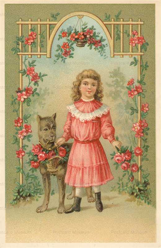 c170-Greeting Cute Flower Girl Dog mm900