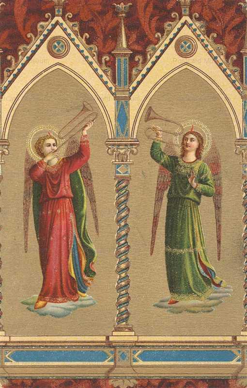 c200-Beautiful Angels Blowing Horns