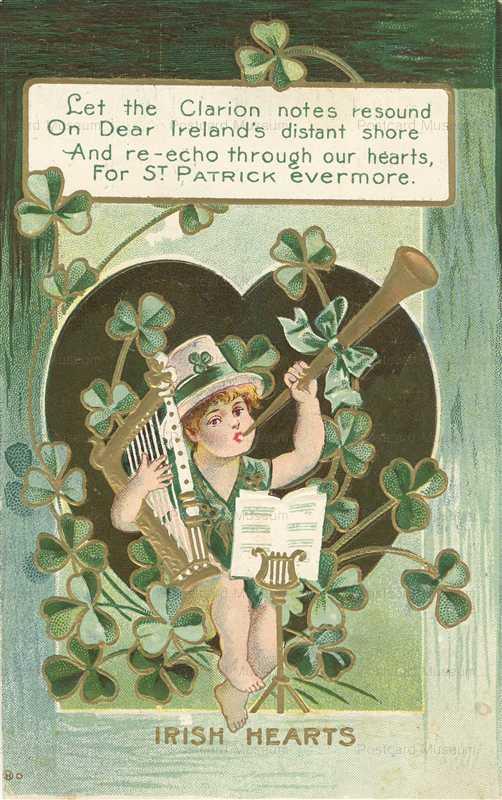 c330-St Patrick's Day Child Harp Horn Embossed