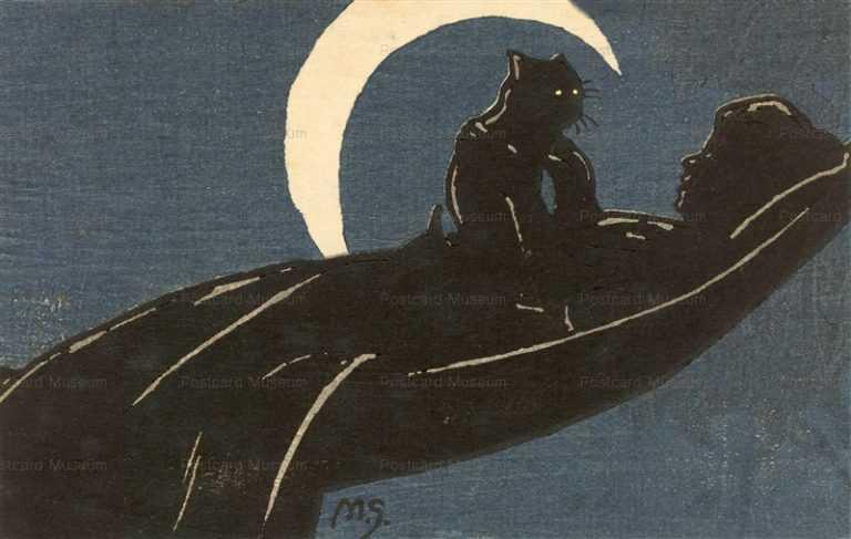 cat210-ハンモックと女と猫と月