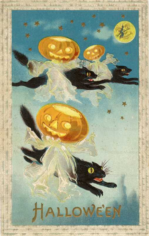 chr001-Hallowin Black Cats Fly with Jol Ghosts Fantasy