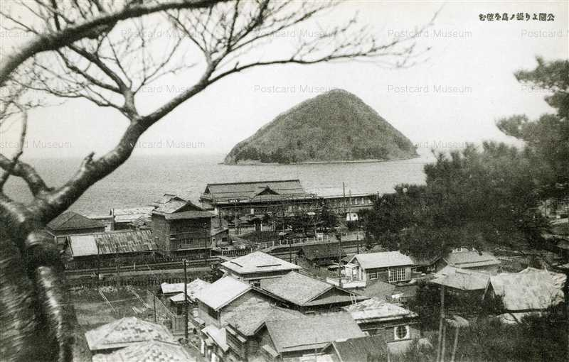 eb287-Asamushi Park form Yunoshima Aomori 公園より湯ノ島を望む