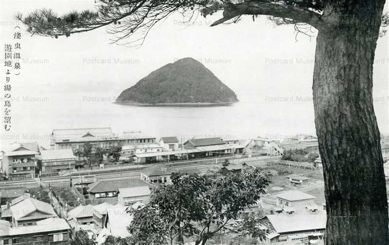 eb289-AsamushiAsamushi Hot Spring Over Looking Yushima 遊園地より湯の島を望む 淺虫温泉
