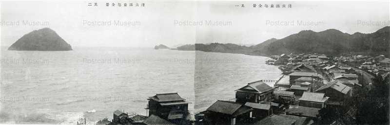 eb290W-Asamushi Shore 浅虫湯ノ嶋裸島之遠望Asamushi Onsen area 淺虫温泉場全景 其一其二