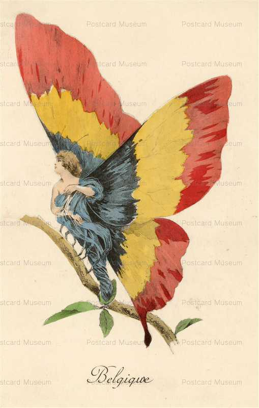 ee001-WWI War Satire Belgium Butterfly Fairy