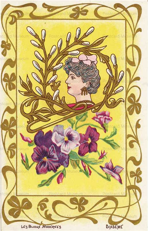 ee102-Jugendstill Woman with Flowers Pansy