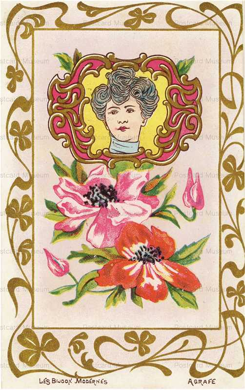 ee103-Jugendstill Woman with Red&Pink Flowers