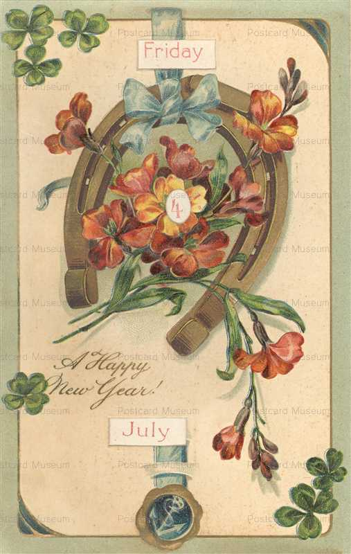 em-Old Mechnical New Year Postcard Horseshoe Shamrocks