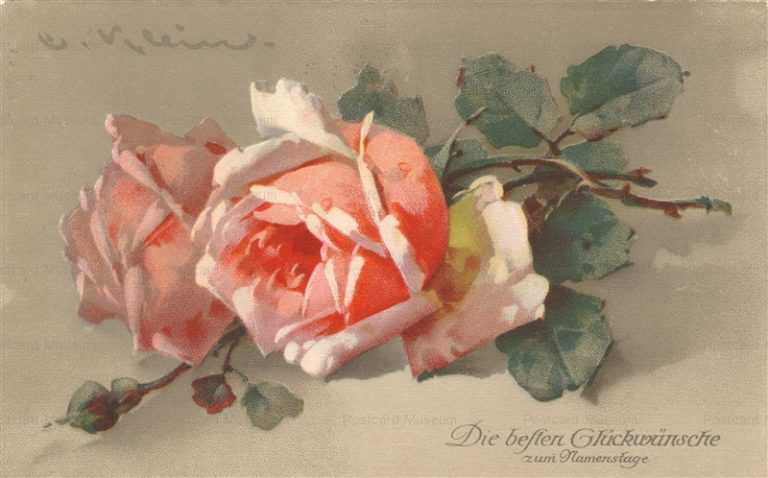 em087-Catherine Klein Romantic Pink Roses Vintage