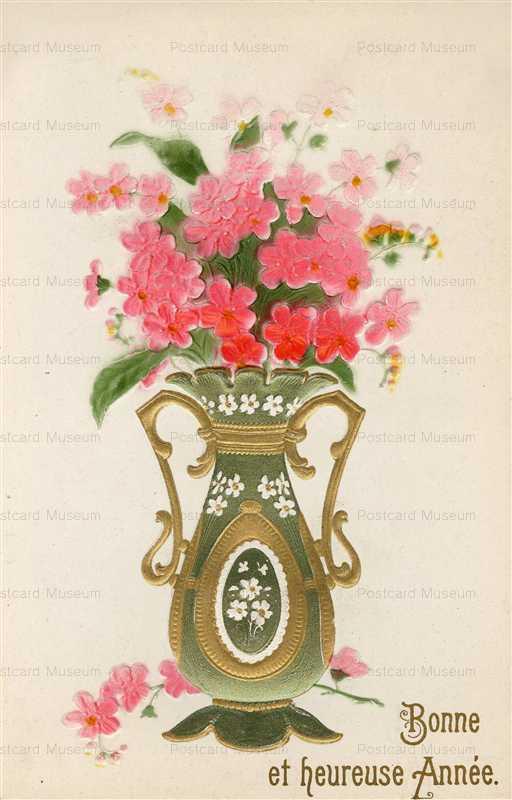 em800-French Flowers in Fancy Green Vases Bonne Anne